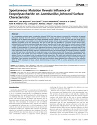 Plos One : Spontaneous Mutation Reveals ... by Foligne, Benoit