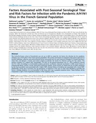 Plos One : Factors Associated with Post-... by Cowling, J. Benjamin