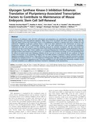 Plos One : Glycogen Synthase Kinase-3 In... by Cooney, John, Austin