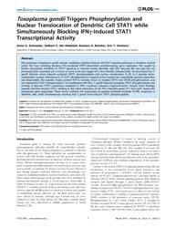 Plos One : Toxoplasma Gondiitriggers Pho... by Hakimi, Ali, Mohamed