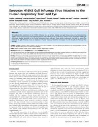 Plos One : European H16N3 Gull Influenza... by Schnell, Johannes, Matthias