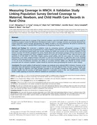 Plos One : Measuring Coverage in Mnch ; ... by Chappell, Lucy, Dr.