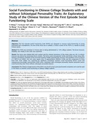 Plos One : Social Functioning in Chinese... by Mazza, Marianna