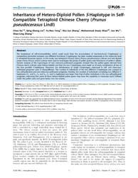 Plos One : Inheritance of Hetero-diploid... by Niedz, Randall, P.