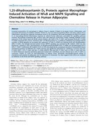 Plos One : 1,25-dihydroxyvitamin D3 Prot... by Randeva, Harpal, Singh