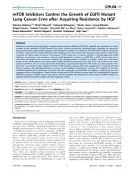 Plos One : Mtor Inhibitors Control the G... by Lee, Jung, Weon