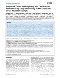 Plos One : Analysis of Tumor Heterogenei... by Oshima, Robert