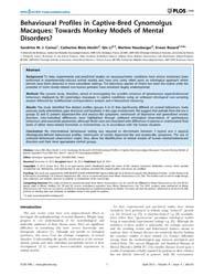 Plos One : Behavioural Profiles in Capti... by Sgambato-faure, Veronique