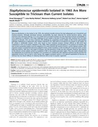Plos One : Staphylococcus Epidermidis Is... by Webber, Mark, Alexander