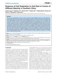 Plos One : Response of Soil Respiration ... by Bond-lamberty, Ben