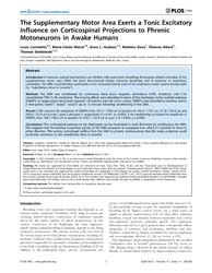 Plos One : the Supplementary Motor Area ... by Yang, Isaac