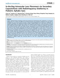 Plos One : In-the-bag Intraocular Lens P... by Quinlan, Roy, A.
