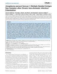 Plos One : Ureaplasma Parvum Serovar 3 M... by Frasch, Martin, Gerbert