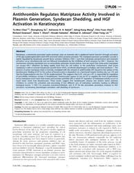 Plos One : Antithrombin Regulates Matrip... by Hong, Wanjin