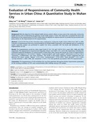 Plos One : Evaluation of Responsiveness ... by Baradaran, Hamid, Reza