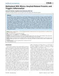 Plos One : Methylated Bsa Mimics Amyloid... by Alves-filho, Jose, Carlos