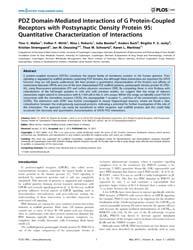 Plos One : Pdz Domain-mediated Interacti... by Kocher, Olivier