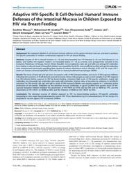 Plos One : Adaptive Hiv-specific B Cell-... by Pöhlmann, Stefan