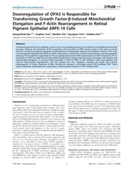 Plos One : Downregulation of Opa3 is Res... by Tan, Ming