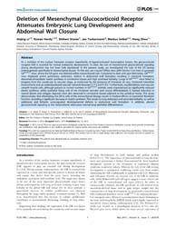 Plos One : Deletion of Mesenchymal Gluco... by Shi, Wei