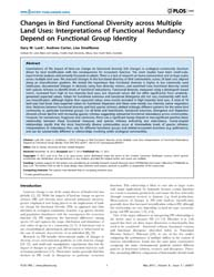 Plos One : Changes in Bird Functional Di... by Davies, Zoe, G.