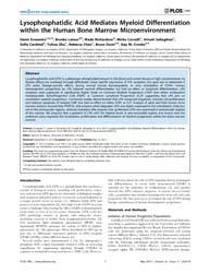 Plos One : Lysophosphatidic Acid Mediate... by Gibson, Spencer, B.