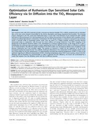 Plos One : Optimisation of Ruthenium Dye... by Haverkamp, Richard, G.