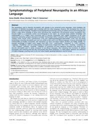 Plos One : Symptomatology of Peripheral ... by Forloni, Gianluigi