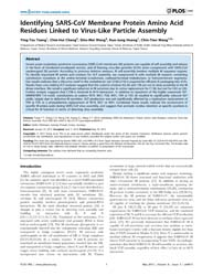 Plos One : Identifying Sars-cov Membrane... by Pöhlmann, Stefan