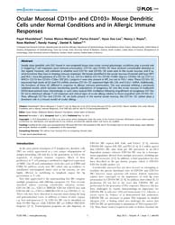 Plos One : Ocular Mucosal Cd11B+ and Cd1... by Kovats, Susan