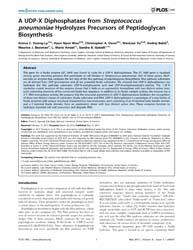 Plos One : a Udp-x Diphosphatase from St... by Agarwal, Pratul, K.