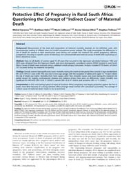Plos One : Protective Effect of Pregnanc... by Young, Roger, C.