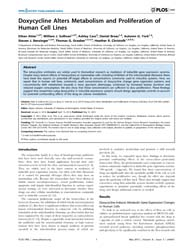 Plos One : Doxycycline Alters Metabolism... by Samant, Rajeev