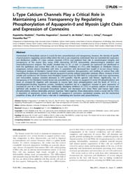 Plos One : L-type Calcium Channels Play ... by Abraham, Edathara