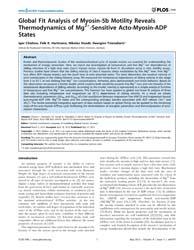 Plos One : Global Fit Analysis of Myosin... by Frischknecht, Friedrich