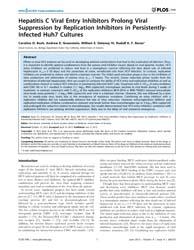 Plos One : Hepatitis C Viral Entry Inhib... by Jhaveri, Ravi