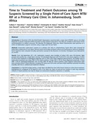 Plos One : Time to Treatment and Patient... by Dheda, Keertan