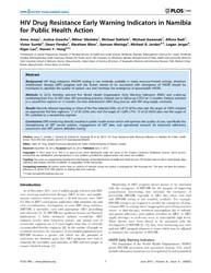 Plos One : Hiv Drug Resistance Early War... by Tang, Julian, W.