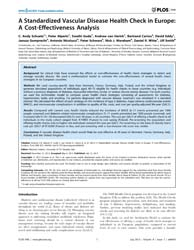Plos One : a Standardized Vascular Disea... by Federici, Massimo