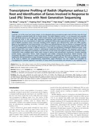 Plos One : Transcriptome Profiling of Ra... by Wu, Keqiang