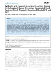 Plos One : Epidemics and Frequent Recomb... by Rong, Lijun