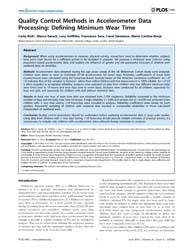 Plos One : Quality Control Methods in Ac... by Dasgupta, Kaberi
