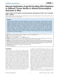 Plos One : Mucosal Application of Gp140 ... by Stambas, John