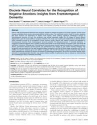 Plos One : Discrete Neural Correlates fo... by Kilner, James