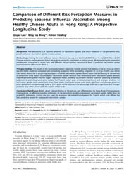 Plos One : Comparison of Different Risk ... by Xu, Jianqing