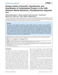 Plos One : Shotgun Redox Proteomics ; Id... by Gasset, Maria