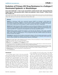 Plos One : Evolution of Primary Hiv Drug... by Sluis-cremer, Nicolas