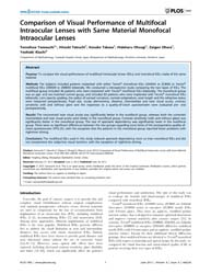 Plos One : Comparison of Visual Performa... by Zheng, Yingfeng