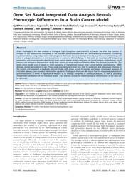 Plos One : Gene Set Based Integrated Dat... by Xu, Ying