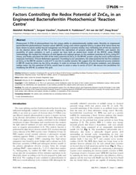 Plos One : Factors Controlling the Redox... by Isalan, Mark
